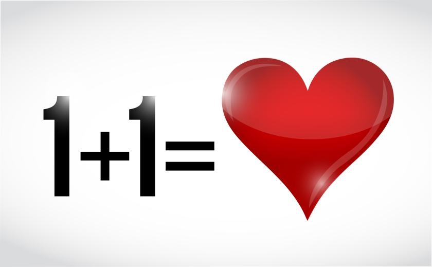 one plus one equals love. illustration design